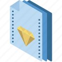 file, folder, isometric, sketch icon