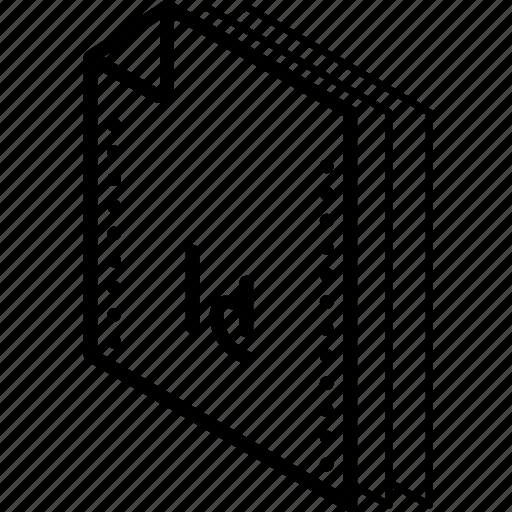 file, folder, indesign, isometric icon