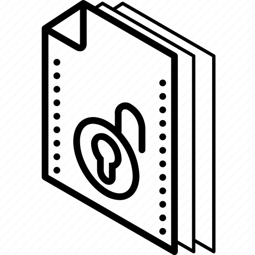 file, folder, isometric, unlock icon
