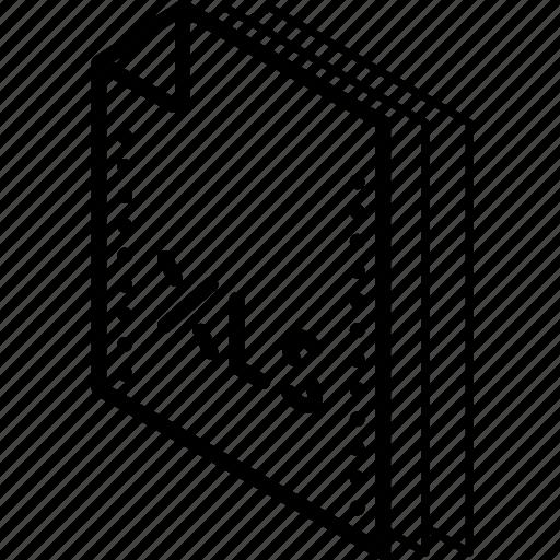 excel, file, folder, isometric icon