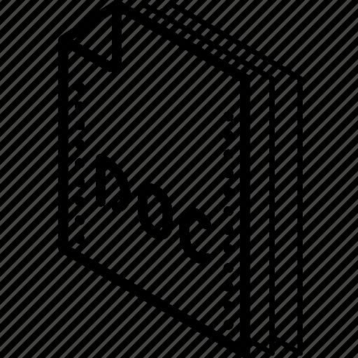 doc, file, folder, isometric, word icon