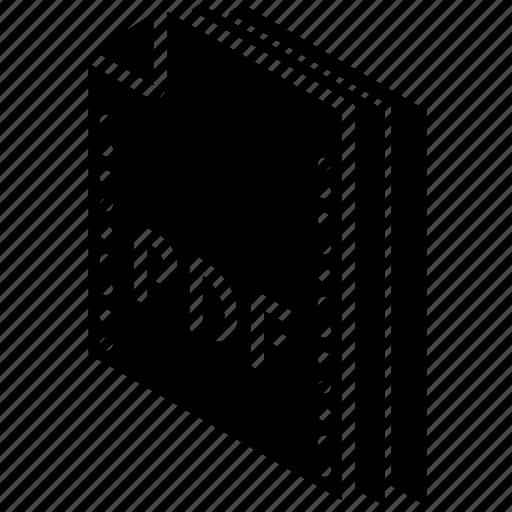 file, folder, isometric, pdf icon