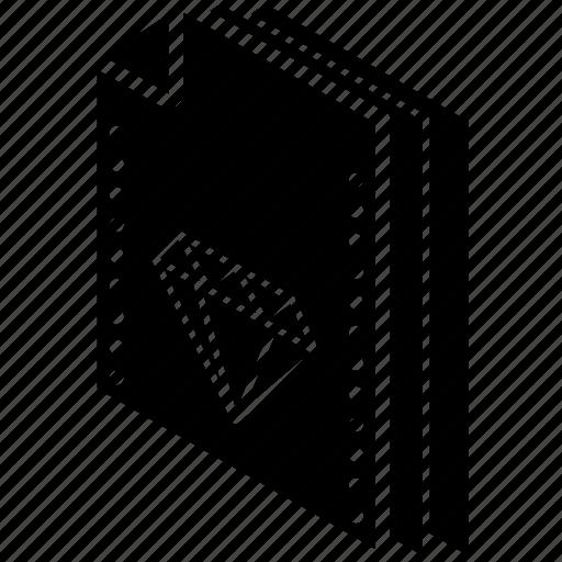 file, folder, isometric, sketch icon