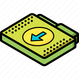 download, file, folder, isometric icon