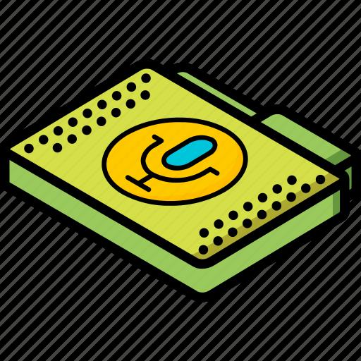 file, folder, isometric, recordings icon