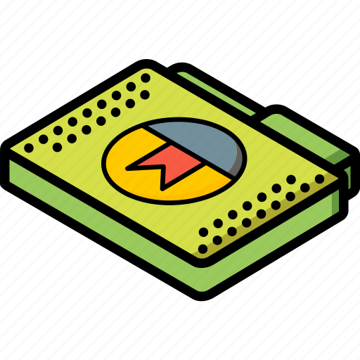 bookmark, file, folder, isometric icon