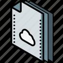 cloud, file, folder, isometric