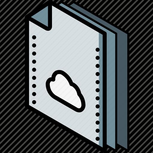 cloud, file, folder, isometric icon