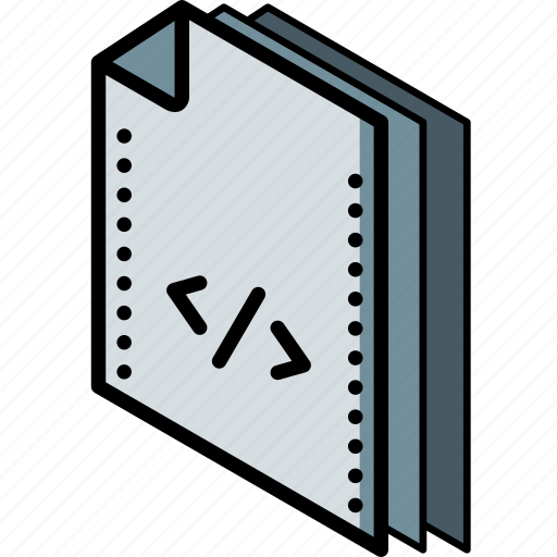 code, file, folder, isometric icon