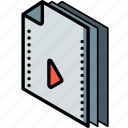 file, folder, isometric, movie icon