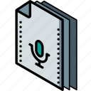 file, folder, isometric, recordings icon