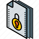 file, folder, isometric, locked icon