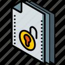 file, folder, isometric, unlock