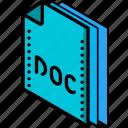 doc, file, folder, isometric, word