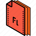 file, flash, folder, isometric icon