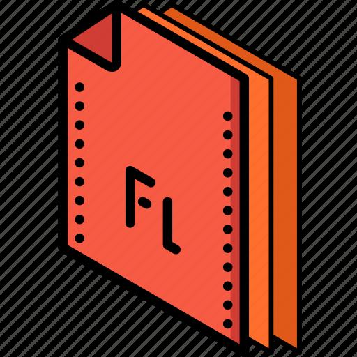 file, flash, folder, isometric icon