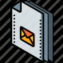 file, folder, isometric, mail