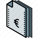 euro, file, finance, folder, isometric icon