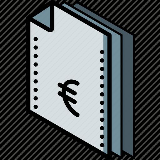 euro, file, finance, folder, isometric icon