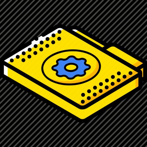 file, folder, isometric, settings icon