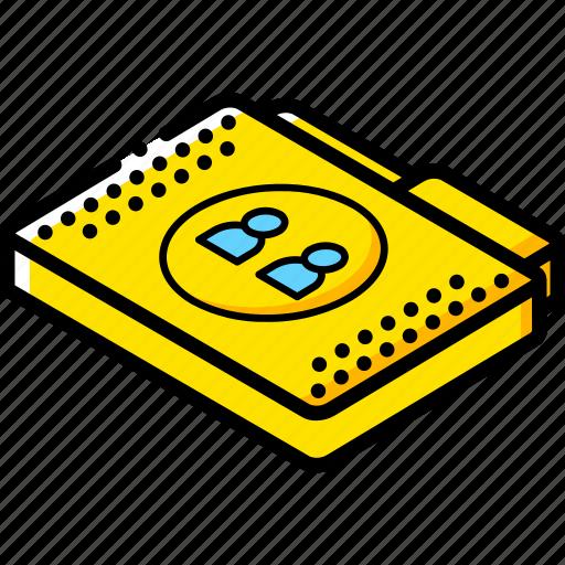file, folder, isometric, users icon