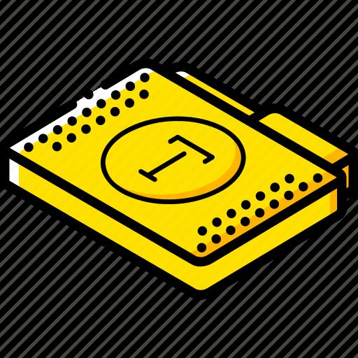 file, folder, fonts, isometric icon