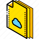cloud, file, folder, isometric icon