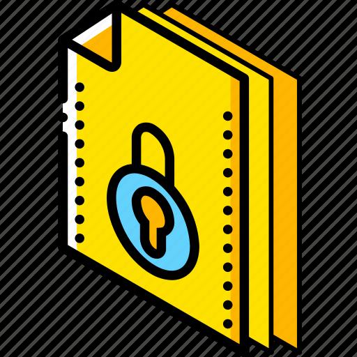 file, folder, isometric, locked icon