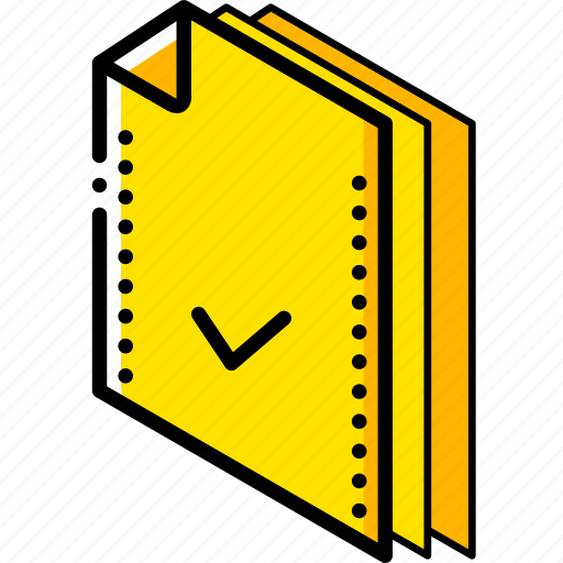 accepted, file, folder, isometric icon