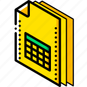 file, folder, isometric, spreadsheet icon