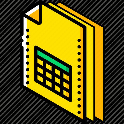 file, folder, isometric, spreadsheet icon
