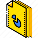 chart, file, folder, isometric icon