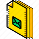 file, folder, isometric, mail icon