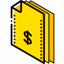 dollar, file, finance, folder, isometric icon