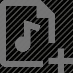 add, audio, file, new, plus icon