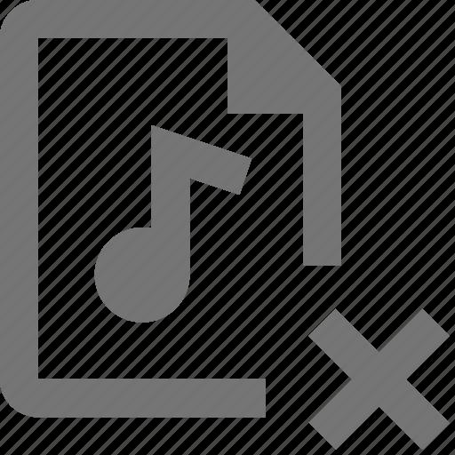 audio, close, delete, document, file, format, paper, sheet icon