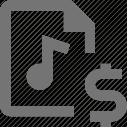audio, document, dollar, file, format, money, paper, sheet icon