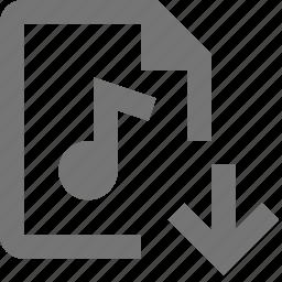 arrow, audio, down, download, file icon