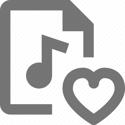 audio, document, favorite, file, format, heart, paper, sheet icon