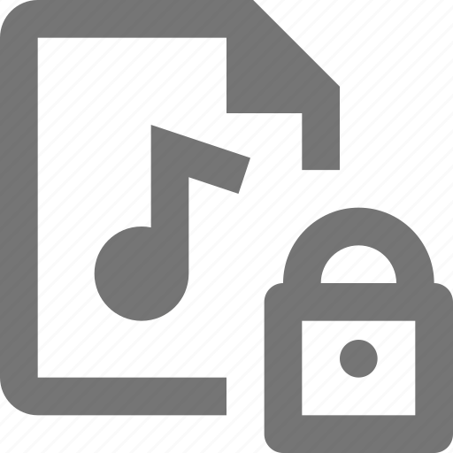 audio, document, file, format, lock, paper, security, sheet icon