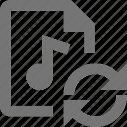 audio, file, refresh, reload, sync icon