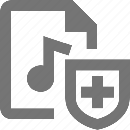 audio, document, file, format, paper, security, sheet, shield icon