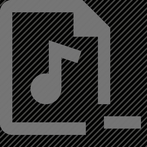 audio, file, minimize, minus icon