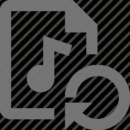 arrow, audio, file, refresh, reload, sync icon