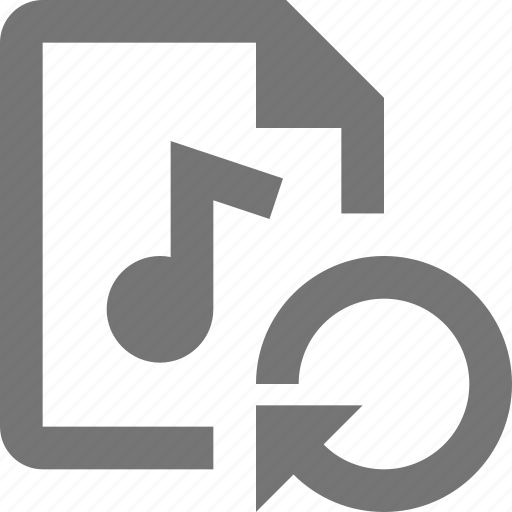 arrow, audio, document, file, format, refresh, reload, sync icon