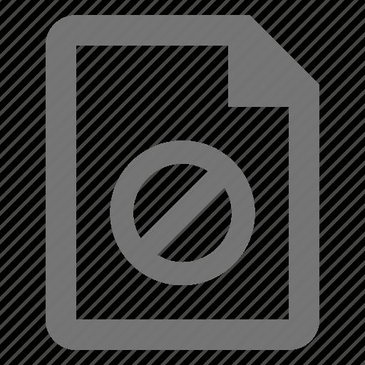 block, delete, document, file, paper, remove, sheet, stop icon