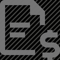 dollar, file, money, text icon