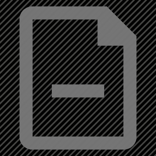 document, file, minimize, minus, paper, sheet icon