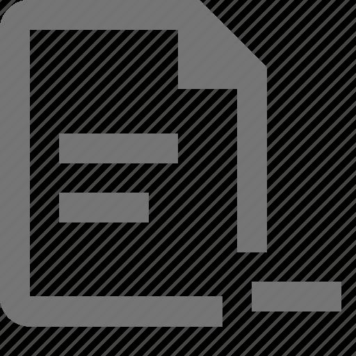 file, minimize, minus, text icon