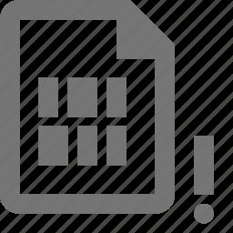 alert, coding, error, exclamation, file, programming icon